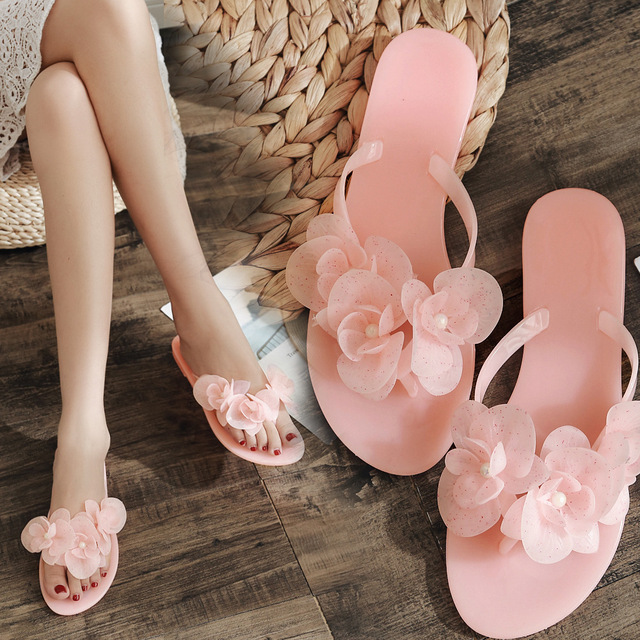 Summer Women Flip Flops Lady Girls Fashion Candy Color Sweat Slippers Beach Flat Shoes Ladies Outdoor Slides Camellias Flower