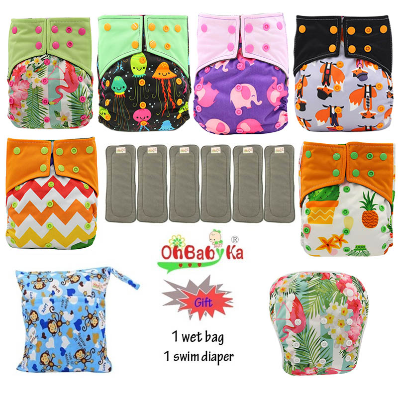 Image 2 - OhBabyKa Washable Baby Cloth Diaper Bamboo Charcoal Reusable All in two Pocket Diaper Adjustable+6pcs Bamboo Insert Baby Nappies-in Baby Nappies from Mother & Kids