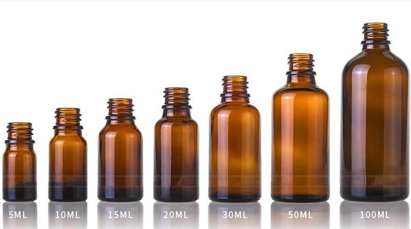 Wholesale 5ml 10ml 15ml 20ml 30ml 50ml 100ml Amber Glass Dropper Bottles Glass E liquid Bottle Eye Dropper Bottle With Black Lid - 6
