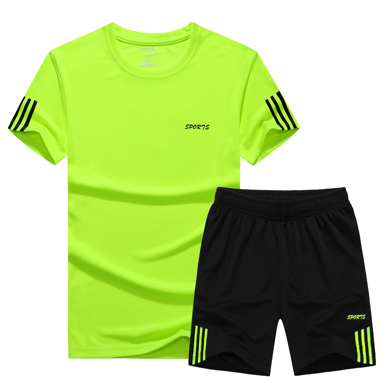 MEN'S Sport Suit Running Fashion Athletic Clothing Casual MEN'S Short-sleeved Shirt Short Shorts Fitness Two-Piece Set