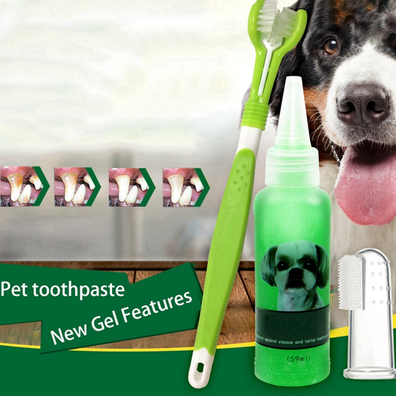 Super Soft Pet Toothpaste Set Pet Finger Toothbrush Teddy Dog Brush Addition Bad Breath Tartar Teeth Care Pet Product image