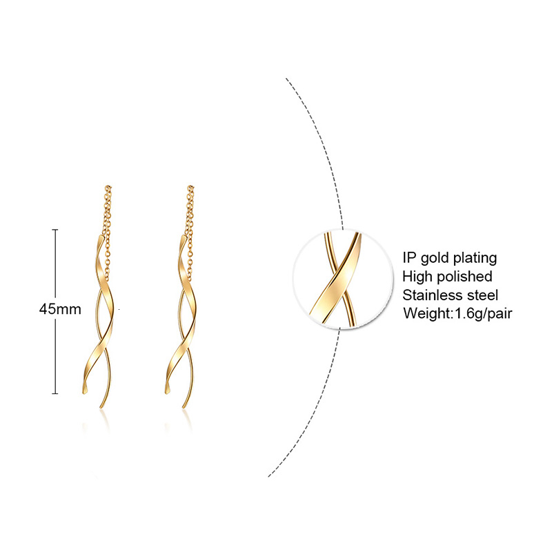 Vnox Trendy Long Twisted Line Earrings for Women Party Jewelry Gold and Color Stainless Steel Dangle Earring Gifts