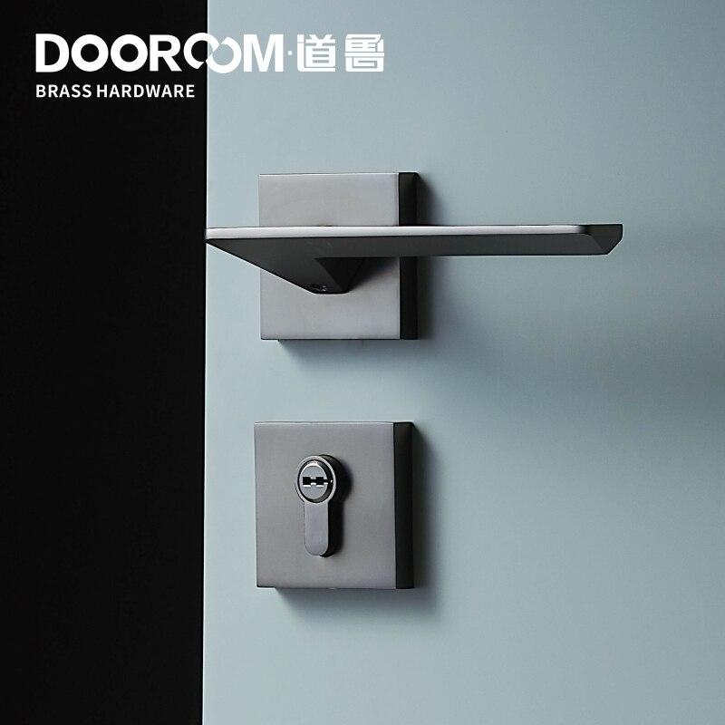 Dooroom Brass Door Lever Set Mute Modern Light Luxury Grey White Double Wood Door Bedroom Bathroom Lock Split  Dummy Handle Knob