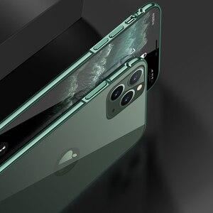 Image 4 - Téléphone étui pour iphone 11 Pro luxe dur mince dos verre trempé et aluminium métal étui housse pare chocs pour Apple iPhone 11 Pro Max