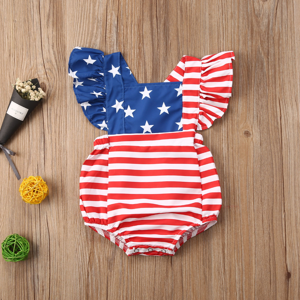 Pudcoco Newborn Baby Boy Girl Clothes Summer Star Striped Print Sleeveless Ruffle Romper Jumpsuit One-Piece Outfit Sunsuit