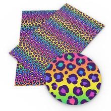 20*33cm ordinária cor do arco-íris leopardo tecido de couro sintético para arcos folhas de couro artesanato diy material feito à mão, c16187