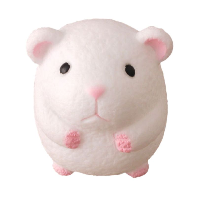 Lovely Safety White Hamster Rubber Squeezing Toy For Kids And Adults Handheld Soft Balls Relieve Anxiety Stress 1 PC 4.5x4.5cm