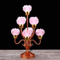 Yuantong Buddha Utensils Buddhism Supplies Alloy Water Glass Bud Seven Items Grade 9 Lotus Lamp Pink Orange Wholesale