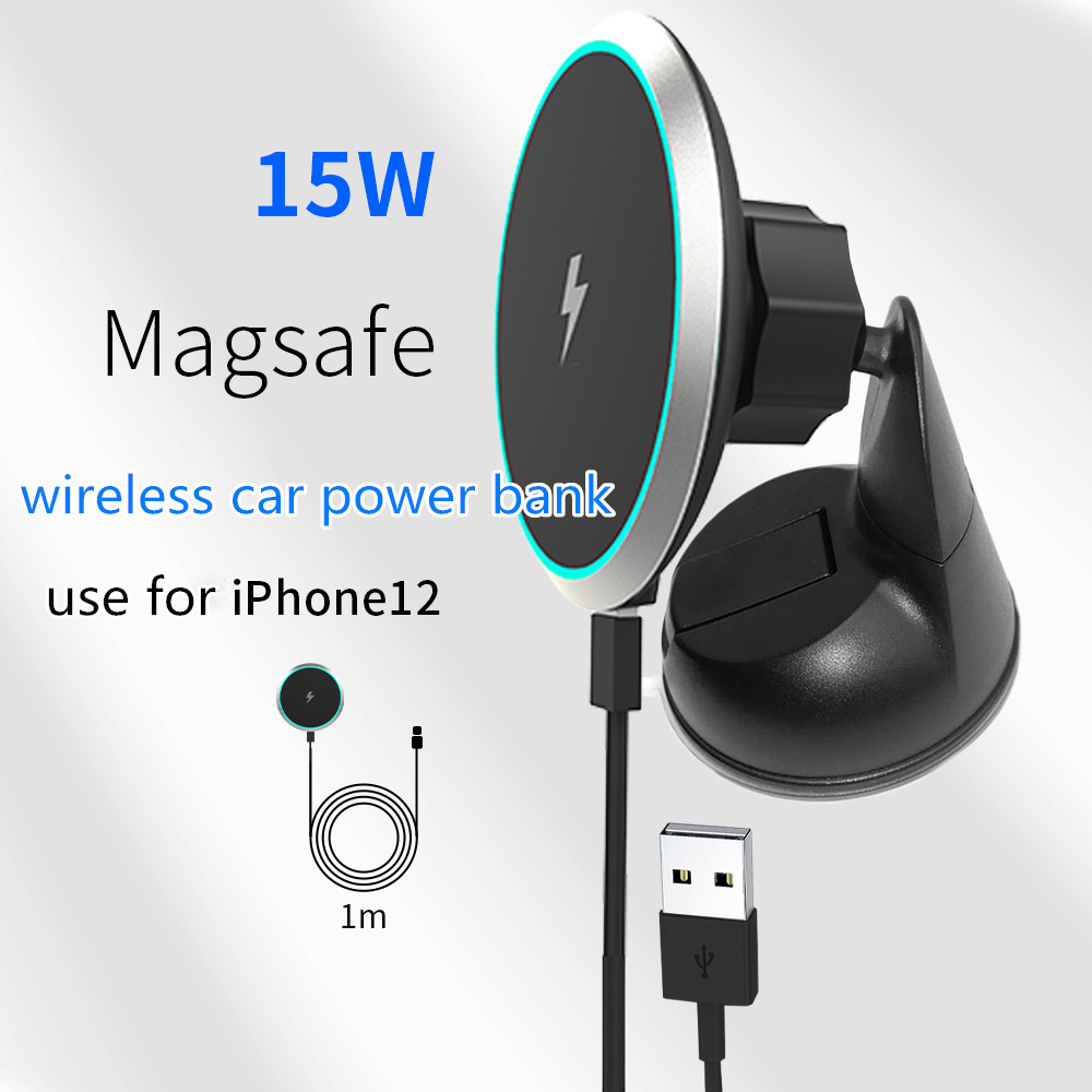 Magsafe Magnetische Auto 15W Snelle Draadloze Oplader Air Outlet Mobiele Telefoon Houder Iphone12 Serie 5