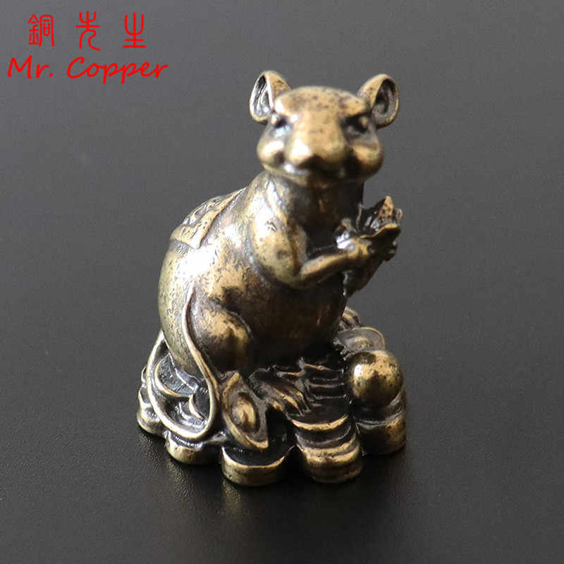 Chinese Old Antique Pure Bronze Auspicious walnut Zodiac Year mouse Sculpture