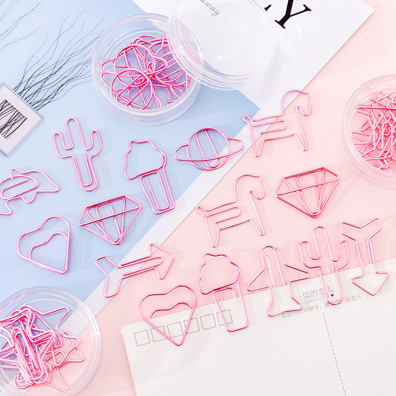 8 Pcs/box Pink Unicorn Diamond Cactus Paper Clip Cute Metal Bookmark Photos Tickets Notes Memo Paper Clip Stationery Gift