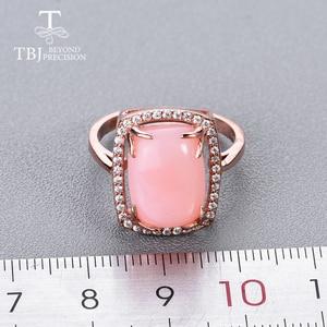 Image 4 - Женский комплект украшений с опалом, кольцо и сережки из серебра 925 пробы с натуральным розовым опалом и изумрудом, 2020