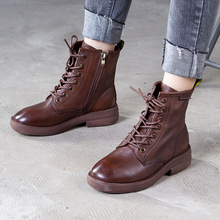 Artdiya Original Genuine Leather Women's Boots Handmade Martin Boots Flat Heels Round Toe Simple Ankle Boots цена 2017
