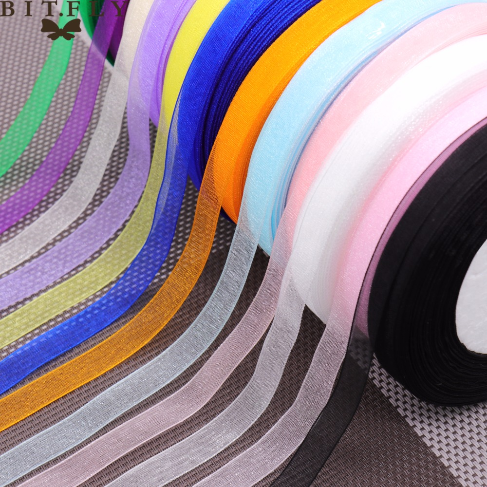 (<font><b>50</b></font> yards/roll) 10mm organza ribbons Bow Wedding party Christmas home Decoration supplies Wrapping Christmas New Year DIY Materi image