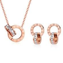 Luxus Elegante Römische Ziffer Kristall Halskette Ohrringe Set Für Frauen Mode Edelstahl Ohrringe 2020 Trend Hochzeit Schmuck