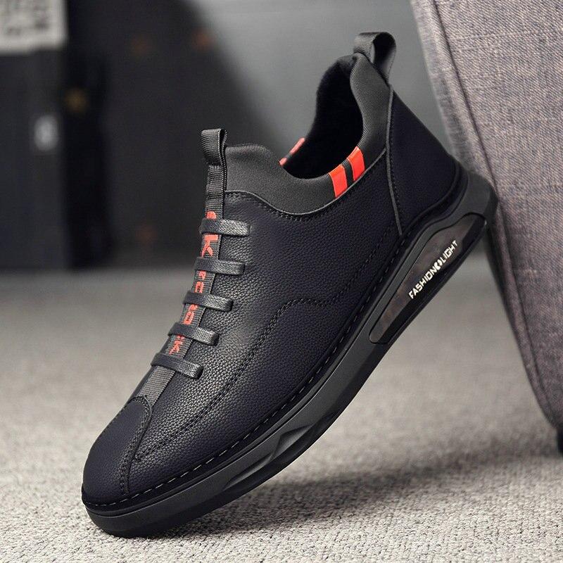 Мужская повседневная обувь, удобные кожаные лоферы для вождения, модные кроссовки на плоской подошве, LM 42 Повседневная обувь      АлиЭкспресс