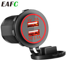 Auto Usb Lader 3.1A Voor Motorfiets Auto Truck Atv Boot Led Light Dual Usb Charger Power Adapter Outlet Power