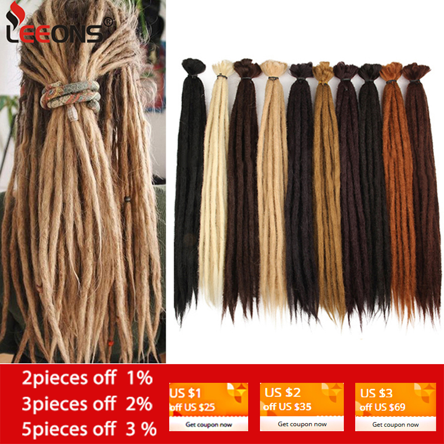 Leeons Handmade Dreadlocks Hair Extensions Crochet Hair Black Brown Synthetic Hair 1 Strands Dreadlock For Women And Men 20 Inch
