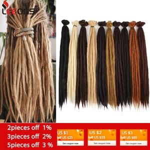Leeons Handmade Dreadlocks Hair Extensions Crochet Hair Black Brown Synthetic Hair 1 Strands Dreadlock For Women And Men 20 Inch(China)