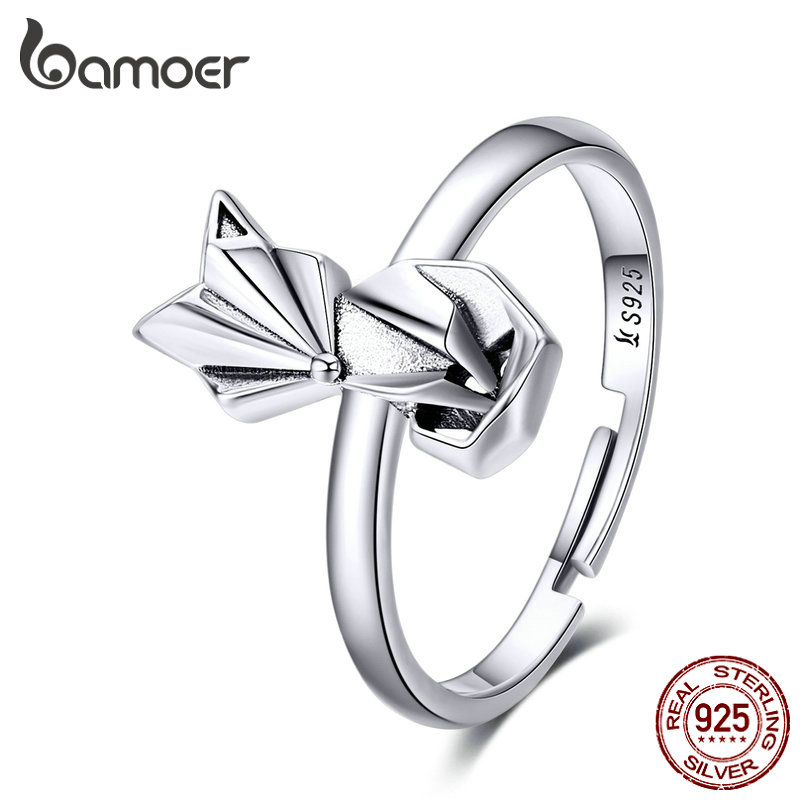 Bamoer Floding Fox Finger Rings For Women Hot Sale Genuine 925 Sterling Silver Animal Band Ring For Party Female Jewelry SCR560