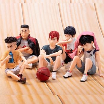 цена на 5pcs Anime SLAM DUNK Sakuragi Hanamichi PVC Action Figures Rukawa Kaede Akagi Takenori Mitsui Hisashi Collection Model Toys 10cm