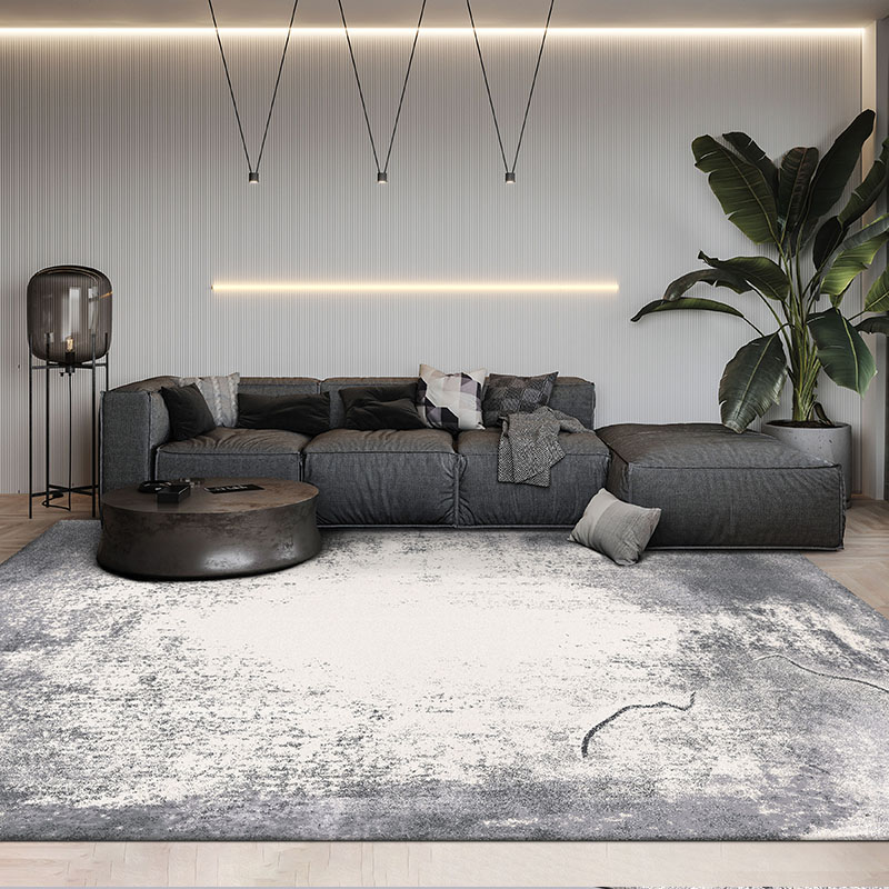 Post Modern Style Abstract Gray  Art Living Room Rug,  Big Size Nordic Style Home Decoration Machine Weaved Bedside Carpet