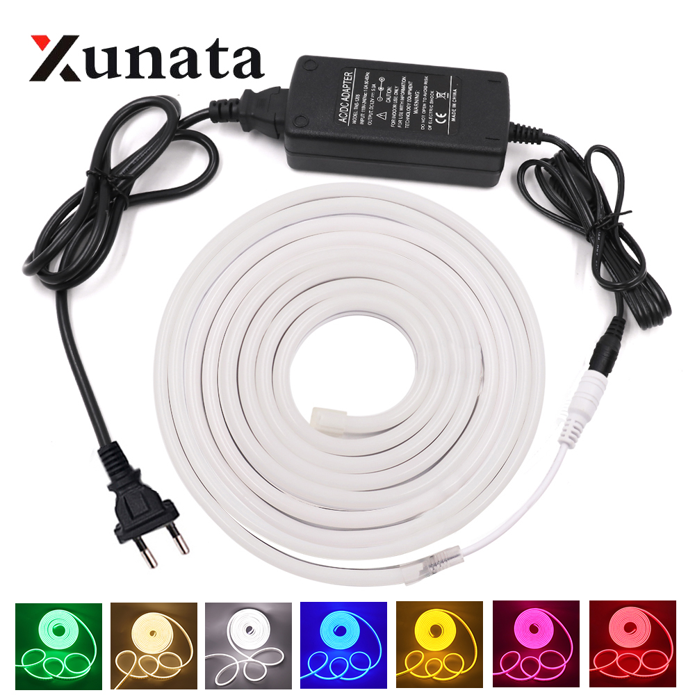 DC 12V LED Neon Light Lamp Waterproof SMD 2835 120LEDs/m Neon Sign Ribbon Tape Flexible LED Light Strip With Power Supply