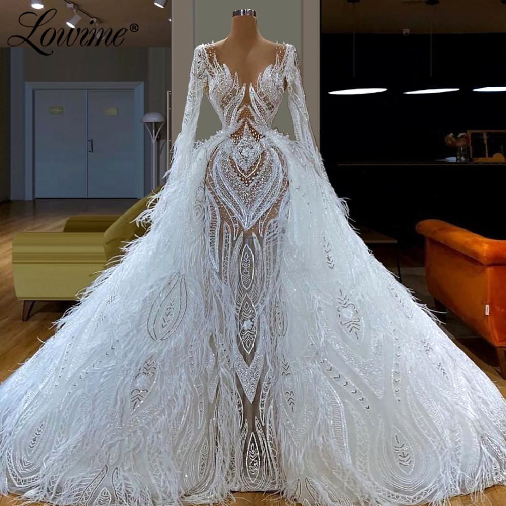 Feather White Muslim Evening Dresses With Detachable Skirt V Neck Prom Dress Dubai Arabic Wedding Party Gown 2019 Robe De Soiree