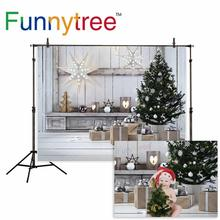 Funnytree photographic background White Wooden Star Light Christmas Tree Gift Photographic background for study Photo background allenjoy photographic background candle cabinet book lantern christmas photographic background for study photo background