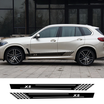 2pcs Car Door Long Side Stickers Auto Vinyl Film Decals Stylish For BMW X5 F15 E70 E53 G05 Automobiles Tuning Car Accessories image