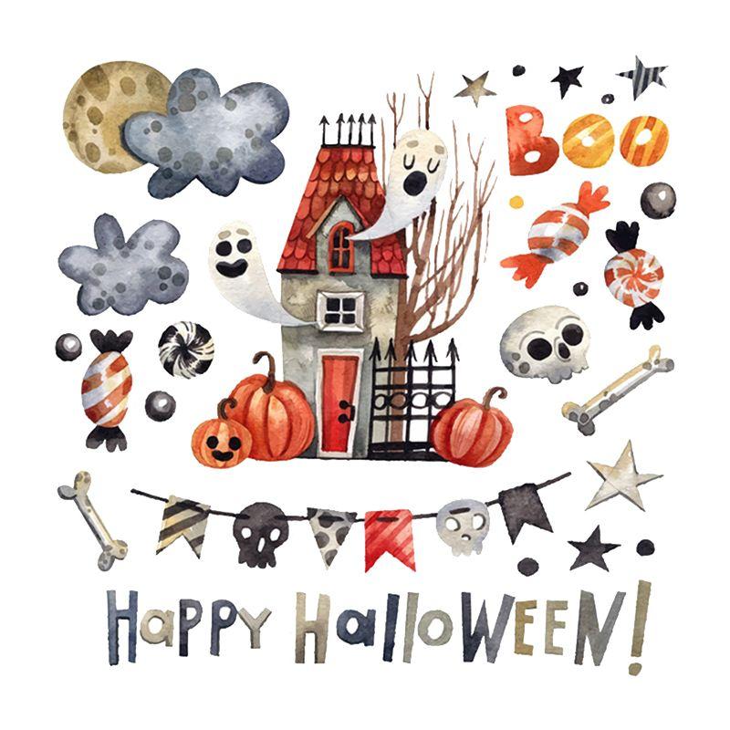 Детские комнаты мультфильм красочные милые настенные наклейки самоклеющиеся ПВХ наклейки для Хэллоуина вечерние украшения для дома для де... - 6