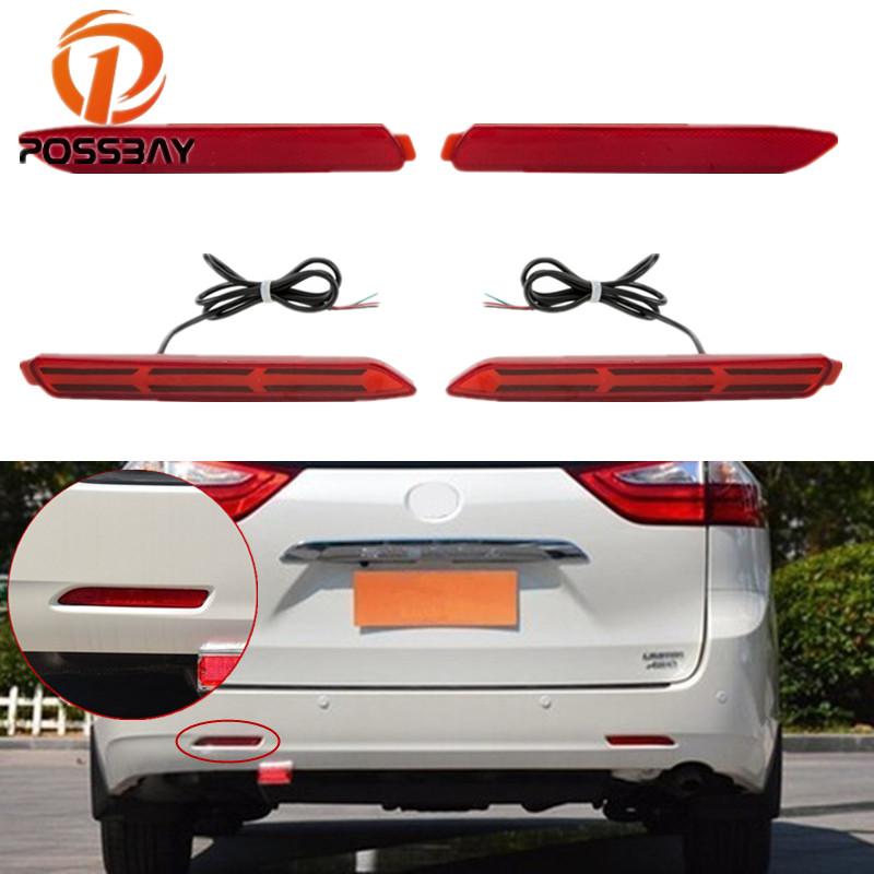 POSSBAY 2Pcs/set For <font><b>Lexus</b></font> RX300 <font><b>GX470</b></font> <font><b>Accessories</b></font> Brake Light LED Rear Bumper Reflector For Toyota Sienna 2010-2017 image