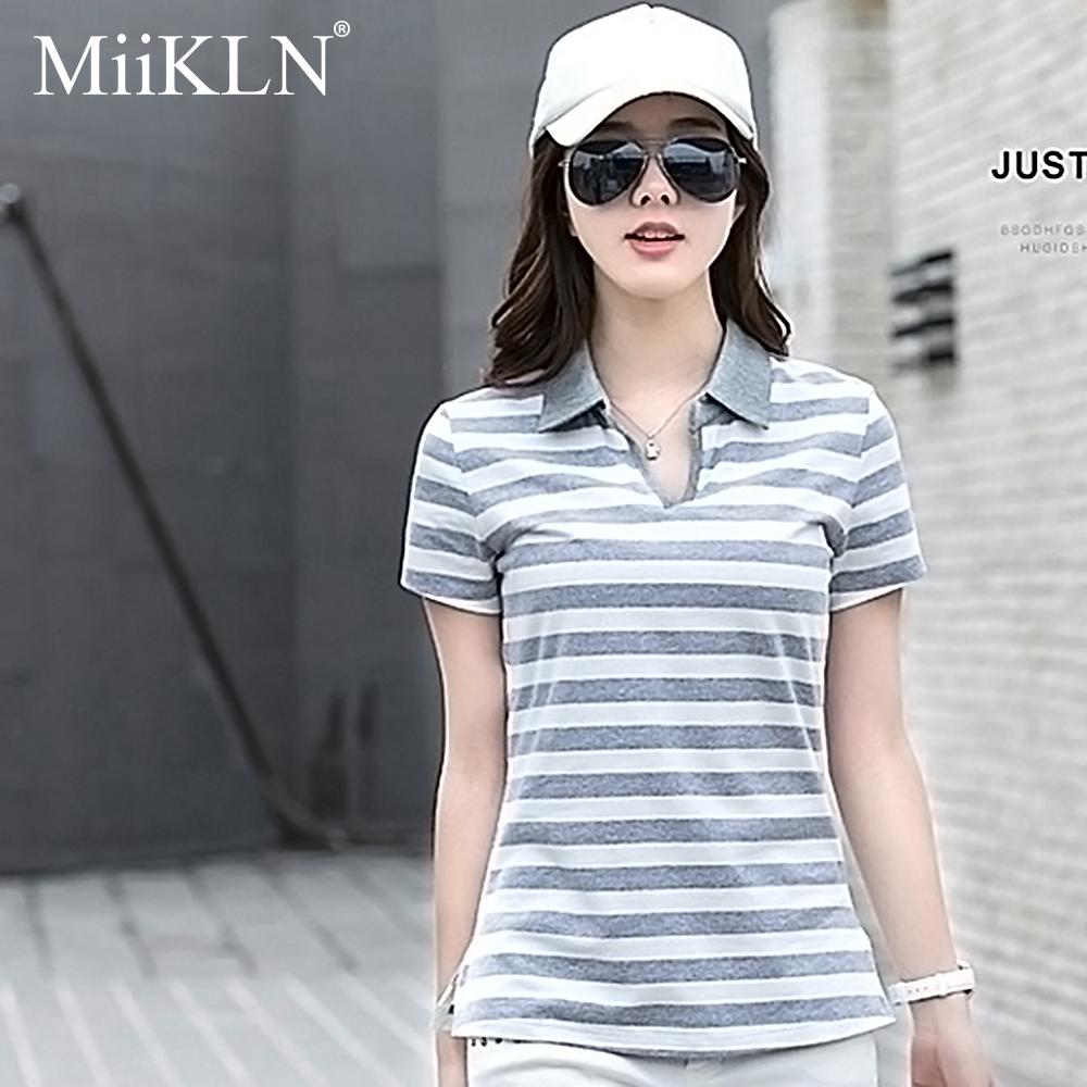 MiiKLN Women Polo Shirt 90% Cotton Collar Stripped 22 Colors Short Sleeves Polo Shirt For Women Plus Size M To 4XL Ladies Polo