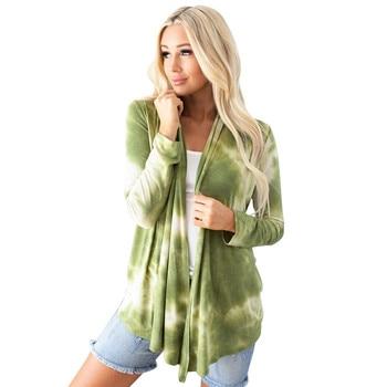 Tie dye Print Women Cardigan Coat Autumn Thin Cardigan Long Sleeve Top Open Stitch Overcoats Tunic Female Casual Clothes 2020