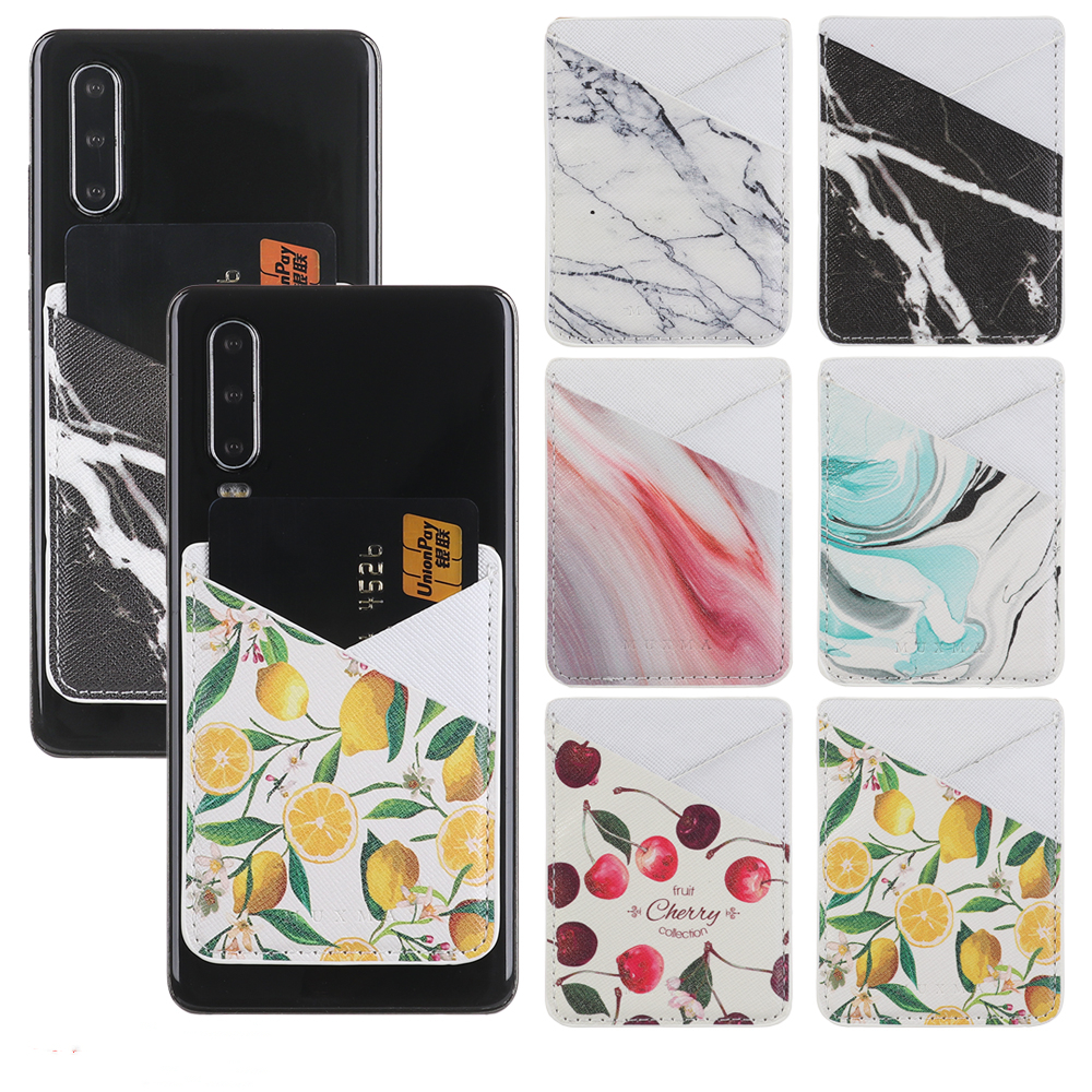 Self-Adhesive Cell Phone Card Holder Pouch Storage Wallet Universal Credit Card Fashion PU Leather Sticker Stick-on Back Pocket