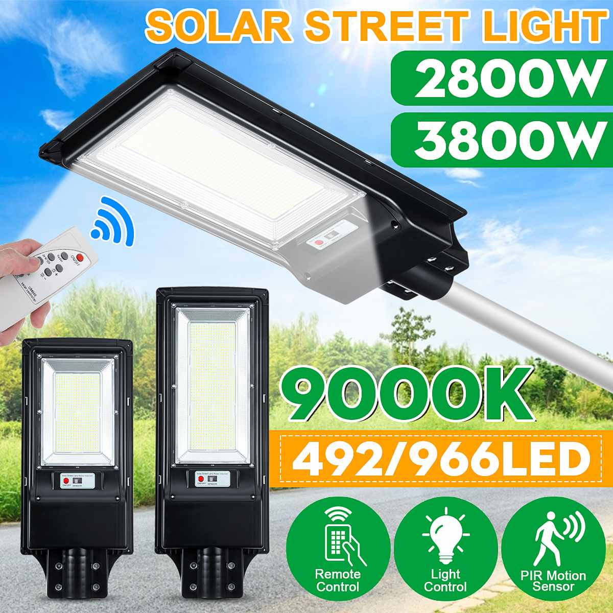 2800W 3800W LED Solar Street Light With/no Remote Control Radar Sensor Outdoor Garden Wall Lamp Industrial Security Lighting
