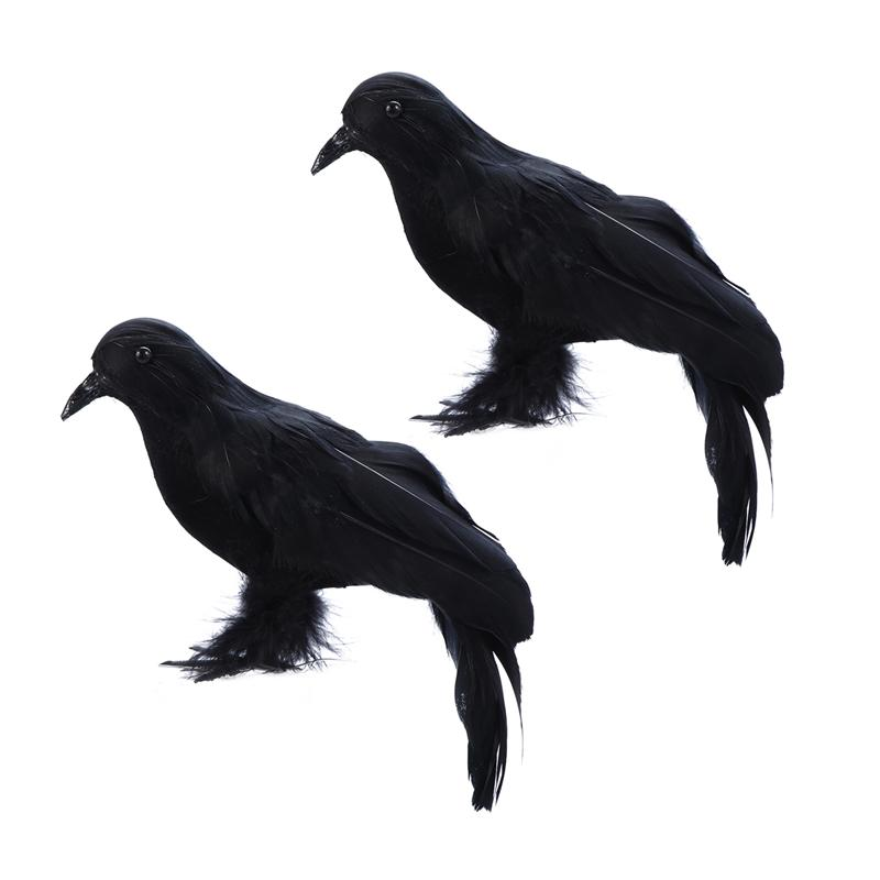 2 Pcs Crow Prop Black Simulated Feather Crow Decor For Shelf Tree Stump Chair