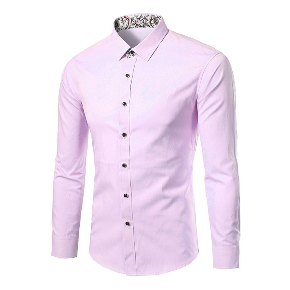 Plus Size Men Floral Patchwork Turn Down Collar Long Sleeve Shirt Slimed Fit Top