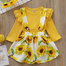 Children Dress Set 2019 Autumn Sunflower Camisole Dress+ Long Sleeve Tops Suit For Kids Baby Girl