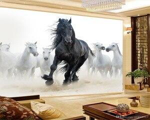 Image 1 - Personalizzato 3d Murale Carta Da Parati Europea Stile di Otto Figura del Cavallo TV Sfondo Dipinto Murale Carta Da Parati Legato