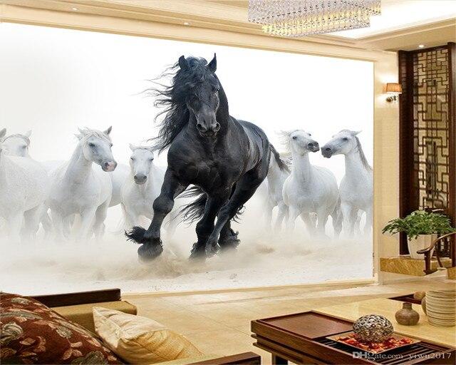 Personalizzato 3d Murale Carta Da Parati Europea Stile di Otto Figura del Cavallo TV Sfondo Dipinto Murale Carta Da Parati Legato