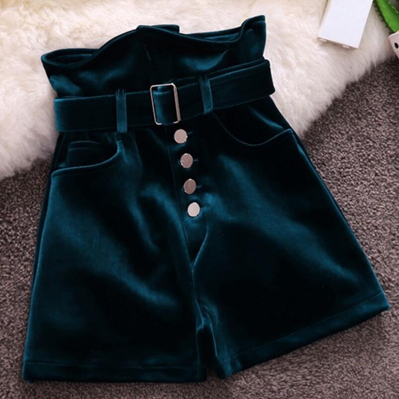 Fashion Velvet Shorts Women Autumn Winter Single Breasted High Waist Wide Leg Shorts