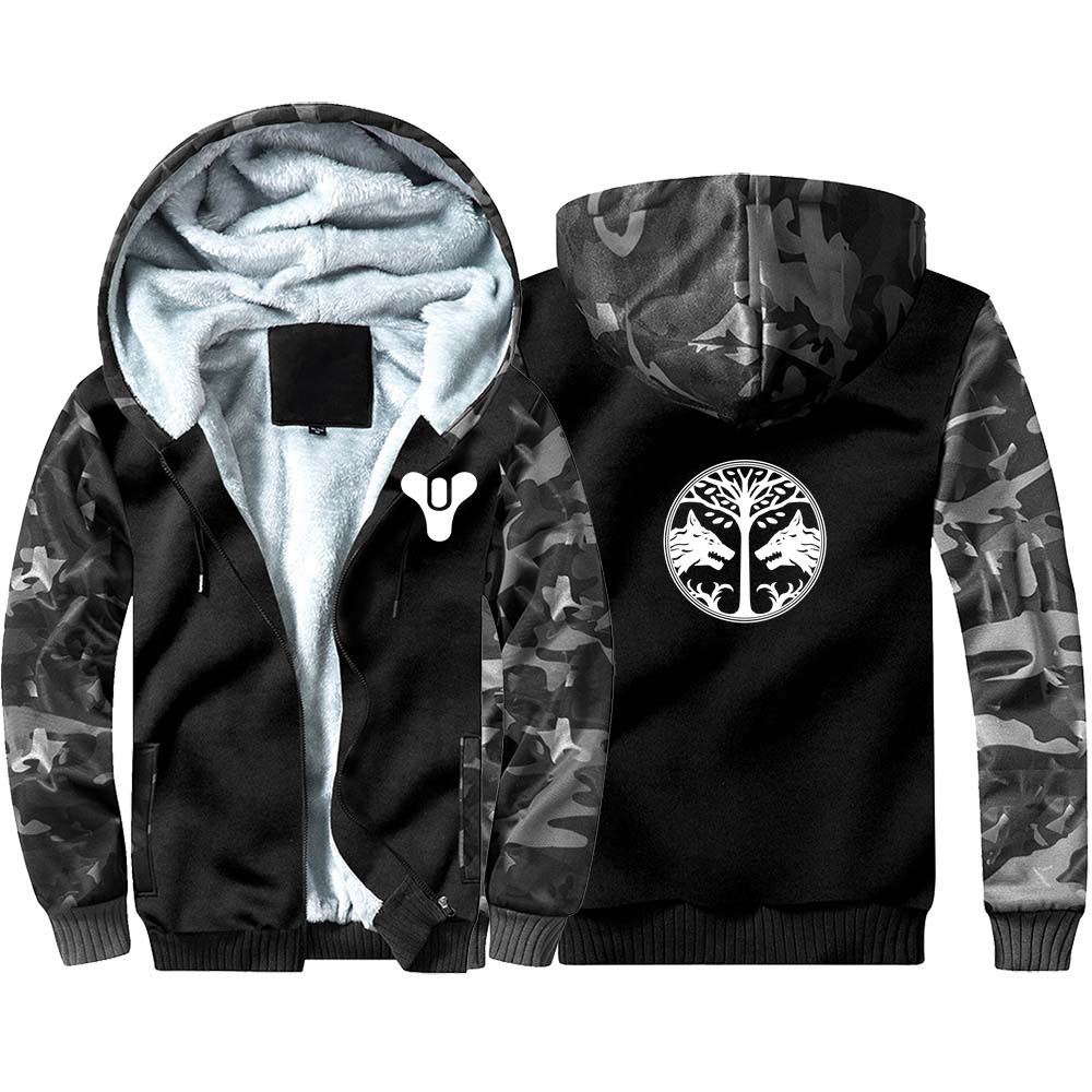 New Game Destiny Iron Banner Camouflage Hoodie Sweatshirts Winter Coat Cosplay Costume Anime Thicken Warm Hooded Men Clothing