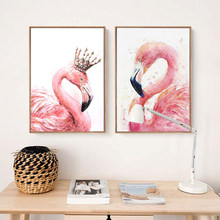 Two Flamingos Pictures Animal Posters And Prints Canvas Painting Modern Decoration Wall Art For Living Room Bid's Room NO FRAME(China)
