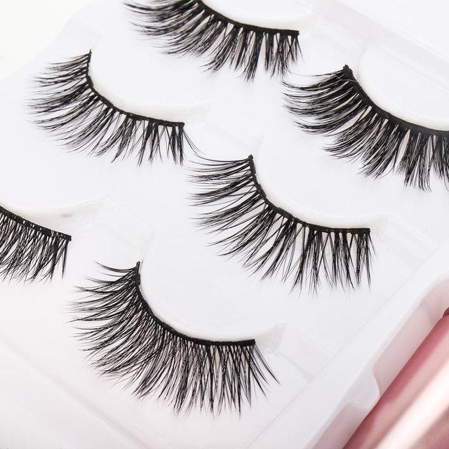 New 3 Pairs/set 3D Magnetic Fake Eyelashes Extension Natural Reusable Magnet False Eyelashes kits with Magnetic Eyeliner tweezer 2