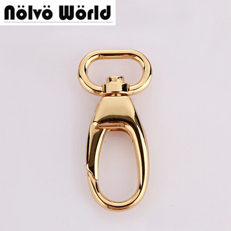 Nolvo World 5-20-100pcs 4 Colors 3/4 Inch 20X55mm Real Gold Heavy Swivel Snap Hook Lock For Fashion Leather Handbags