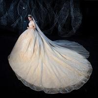 Luxury V neck Lace Wedding Dresses elegant Big tail Wedding Gown Starry sky fantasy princess Wedding Dress