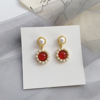 S925 needle Korean retro harbour style small pearl EARRINGS long style temperament net red Earrings image