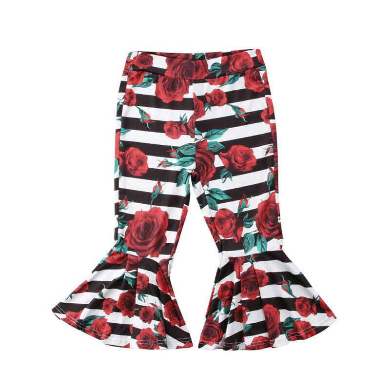Fashion Bayi Anak-anak Balita Bayi Anak Perempuan Bergaris Bunga Bell-Bottoms Celana Musim Panas Gadis Kasual Long Flare Celana 1--6Y