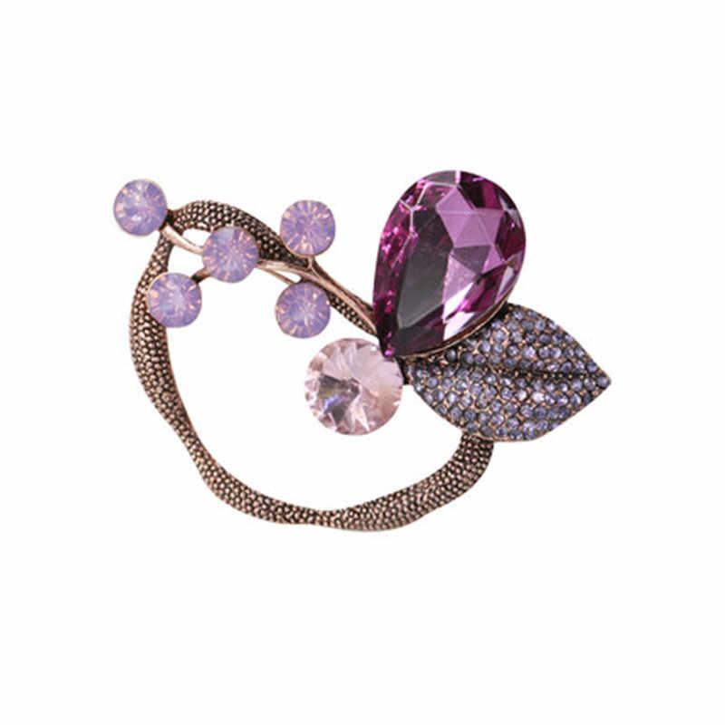 Fashion Besar Daun Bros untuk Wanita 2019 Vintage Asli Ungu Kristal Bunga Pria Bros Pin Tanaman Perhiasan Grosir